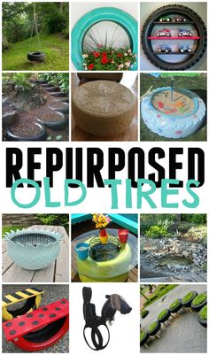 Check out these awesome ways you can turn these repurposed old tires into something fabulous, pretty and new. Reuse Old Tires, Reuse Recycle, Reduce Reuse, Recycled Tires, Recycled Crafts, Diy Crafts, Outdoor Projects, Garden Projects, Farm Projects