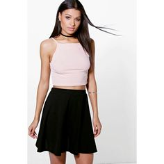 Boohoo Night Adana Full Soft Crepe Skater Skirt (£7.70) ❤ liked on Polyvore featuring skirts, black, body con skirt, knee length pleated skirt, midi circle skirt, pleated skater skirt and circle skirt