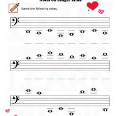 Treble Clef Ledger Lines – Worksheet | Music Worksheets ...