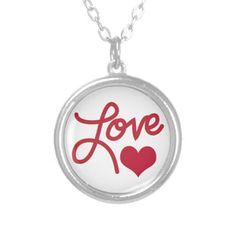 Love Cursive Heart Text Necklace