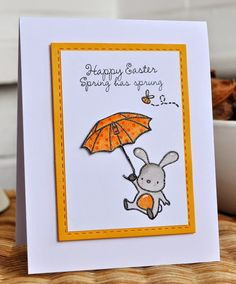 Inky Fingers: Mama Elephant Up and Away Easter card