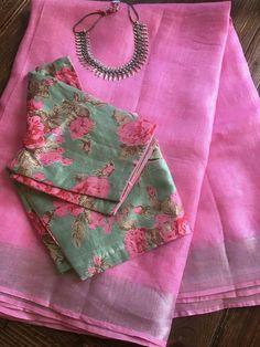 Best 12 Pink Linen Saree with Floral Rawsilk blouse. Saree Blouse Patterns, Designer Blouse Patterns, Saree Blouse Designs, Simple Sarees, Saree Look, Elegant Saree, Casual Saree, Handloom Saree, Kurti