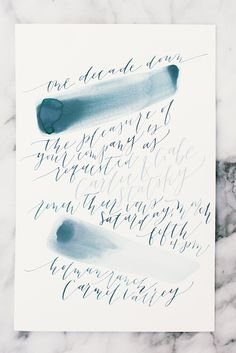 watercolor wedding invitation - photo by Delbarr Moradi http://ruffledblog.com/romantic-vow-renewal-after-10-years