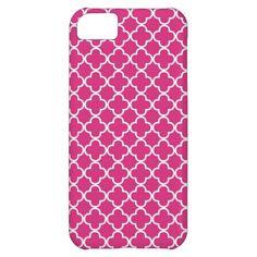 Hot Pink Quatrefoil Pattern iPhone 5C Cases
