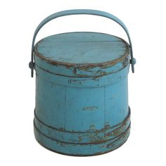 19th Century Blue Painted Firkin From New England