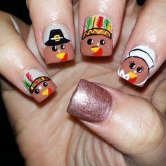 Pin for Later: Thanksgiving Nail Art Ideas More Tantalizing Than Pumpkin Pie Cartoon Cuties