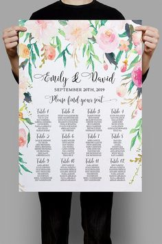 Personalized Wedding Seating Chart Table by HappyLifePrintables