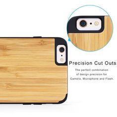 iCASEIT iPhone 6 / 6s PLUS WOOD Case | Bamboo / Black