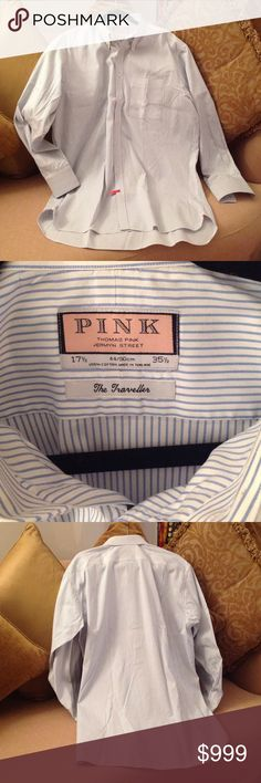 🌈 'PINK' Thomas Pink Jermyn Street Shirt Beautiful Classic and Stylish shirt called the 'Traveller' Thomas Pink. Size 17.5 - 35.5. It's 100% Cotton. Masculine Blue and White Stripes. Dry cleaned for your convenience.  This is in almost brand new condition. Thomas Pink Shirts Casual Button Down Shirts