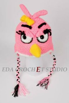 Crocheted inspired Angry Birds Hat Stella Red by EDACROCHETSTUDIO, $31.00