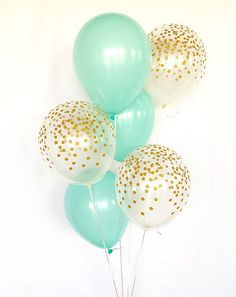 Mint and Gold Confetti Latex Balloons~Baby Shower~Bridal Shower Balloon~Mint Balloons~Wedding~Bachelorette~Mint Party Decor~Confetti Balloon Ballons en latex menthe et or ~ … Turquoise Baby Showers, Teal Baby Showers, Deco Baby Shower, Gold Bridal Showers, Shower Party, Birthday Balloon Surprise, Gold Birthday Party, Birthday Balloons, Bridal Shower Balloons