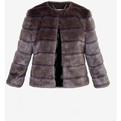 Ted Baker Cropped faux fur jacket (6006005 BYR) ❤ liked on Polyvore featuring outerwear, jackets, ted baker, purple faux fur jacket, purple jacket, fake fur jacket and cropped jacket