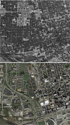(Cincinnati)--Before-and-after maps show how freeways transformed America's cities