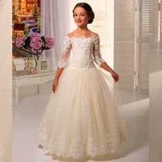 Ivory Lace Flowergirls Flower Girl Dresses for Weddings First Communion Dresses for Girls Tulle Ball Gowns bloemenmeisjes jurk-in Flower Girl Dresses from Weddings & Events on Aliexpress.com | Alibaba Group
