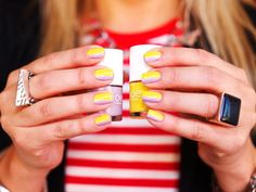 Seeing Stripes! Joe Fresh nail polish in Canary with a stripe of Lilac!