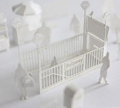 '1/100 architectural model accessories series no.6 New York' by Japanese paper artist Terada Mokei - an entirely  constructed-from-parchment representation of a bustling new york city subway station created at a 1:100 scale http://www.teradamokei.jp/en/ #paper_art #landscape #crafting