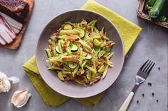 Trofie con crema di zucchine e pancetta: una cremosa bontà dal gusto delicato incontra il sapore intenso della pancetta per un primo piatto unico!