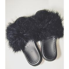 64c4392254581 Nike Feather fur Slides Custom Girly Fashion Any size 1 13 womens) Any...  ( 65) ❤ liked on Polyvore featuring shoes