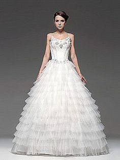 Tiered Tulle Ball Gown with Spaghetti Straps - USD $199.00