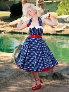 Vintage Inspired 1950s Style Navy White Polka Dot Halter  Dress  #nauticalstyledress  #50sStyleDresses #PolkaDotDress