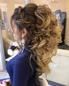 summer wedding hairstyles for medium length hair - wedding dresses . - summer wedding hairstyles for medium length hair – Wedding dresses -… – Over 50 summer we - Quince Hairstyles, Up Hairstyles, Pretty Hairstyles, Hairstyle Ideas, Perfect Hairstyle, Bridal Hairstyles For Curly Hair, Vintage Hairstyles, Big Hair Updo, Curly Ponytail
