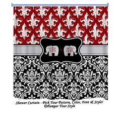 Items similar to Fleur-de-lis and damask Shower Curtain - Elephant Shower Curtain, Roll Tide Shower Curtain - University of Alabama on Etsy