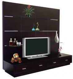 Furniture, : Beautiful Walnut Unit TV Stand With 4 Drawer Bellow Also 3 Tier Glass Shelf