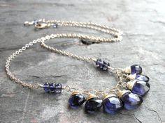 Bib Necklace Iolite Necklace Denim Blue Gemstone Necklace, Sterling Silver, Iolite Jewelry on Etsy, $63.00