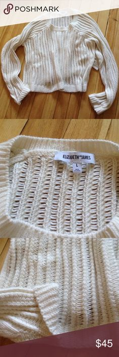 ELIZABETH AND JAMES Cream Cropped Knit Sweater Adorable cozy knit sweater. Hardly worn, great condition. Size L Elizabeth and James Sweaters Crew & Scoop Necks