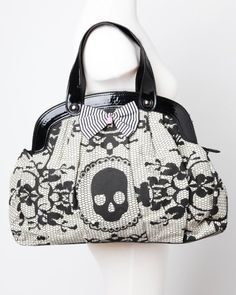 Iron Fist Lacey Days Skull Vegan Handbag Purse - - Iron Fist's goth-inspired vegan purse is made of printed canvas and faux patent-leather. Lace Skull, Pink Skull, Skull Hand, Skull Purse, Vegan Purses, Vegan Handbags, Mode Chic, Iron Fist, Cute Purses