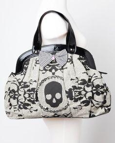Iron Fist Ivory Lacey Days Skull Vegan Handbag