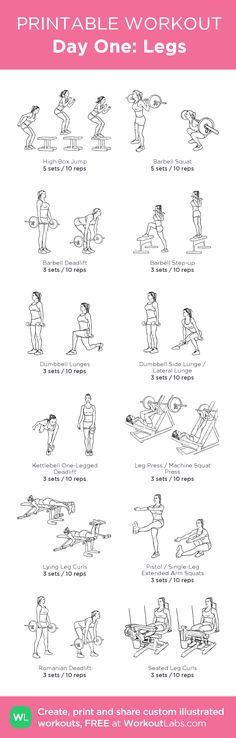 Day One: Legs - my visual workout created at WorkoutLabs.com • Click through to customize and download as a FREE PDF! #customworkout