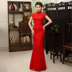 Qipao Chinese Clothing Store Abendkleider Limited Spandex Chinese Wedding Dress New Bride Collar Lace Fishtail Long Cheongsam