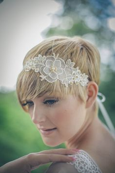 Wedding headband 'Primrose' pearl floral ivory by dcbouquets