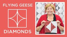 Click here to get supplies: http://bit.ly/flyinggeesediamonds Jenny demonstrates how to make a beautiful Flying Geese Diamonds Quilt using 10 inch squares of...