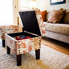 Small Spaces solution (use storage stools instead of the design that does not open up)