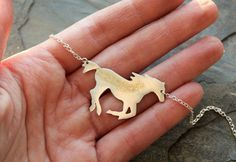 Dark Horse Silver &14k Gold Statement Necklace.  Equestrian Necklace by littleWingedHeart