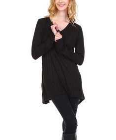 Look at this #zulilyfind! Black V-Neck Tunic - Plus #zulilyfinds
