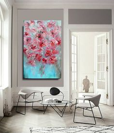 """Sale LARGE  painting abstract Modern wall & home decor contemporary flowers FREE Shipping/US  oil painting canvas original handmade 24""""x48"""" on Etsy, $225.00"""