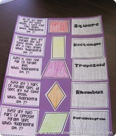 Fun Quadrilaterals Mix and Match FREEBIE :)