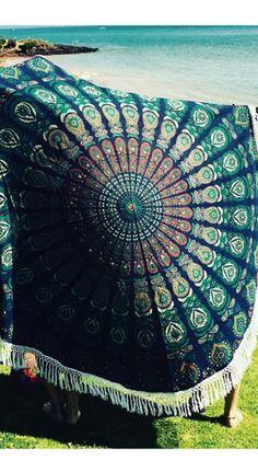 Round Blue Turquoise peacock mandala throw