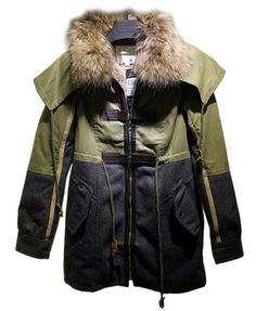 Patchwork Parka with Fur Collar