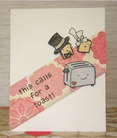Adorable wedding card by Samantha!  Lawn Fawn - Love 'n Breakfast, Harold's ABCs, Pa-Rum-Pa-Pa-Pum, Making Frosty Friends _ this calls for a toast card - ls