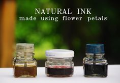 THE SHEER STORIES: natural ink - made using flower petals . my daughters used to love to make concoctions like these Tinta Natural, Paper Crafts, Diy Crafts, Kitchen Witch, Tampons, Nature Paintings, Nature Crafts, Book Of Shadows, Flower Petals