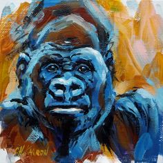 Silver Back - Gorilla, acrylic on canvas panel, 6x6""