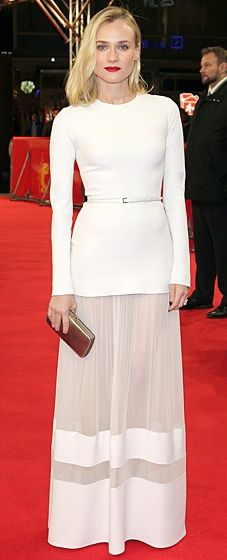 Diane Kruger wearing a white Elie Saab gown to The Better Angels premiere in Berlin, Germany
