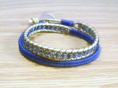 Herringbone Wrapped Bracelet Blue Wrapped by SmileykitCreations, $32.00