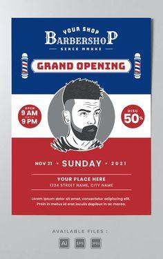 Barbershop Poster Template AI, EPS Poster Templates, Street Names, Grand Opening, Barbershop, Lorem Ipsum, Opening Day, Barber Shop, Barber Shop Names, Barbers