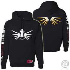 mercy hoodie, hooded, hood, slouchy, women, girls, girl, clothes,shoulder,hoodie,heroes, never, die, wings,custom,ggez, rhinestone,overwatch
