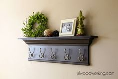 4-Foot Crown and Hooks Wall Shelf | Do It Yourself Home Projects from Ana White